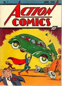 Первый номер Action Comics. Супермен поднимает автомобиль.